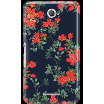 Etui na telefon Sony Xperia E4 Czerwone Kwiaty