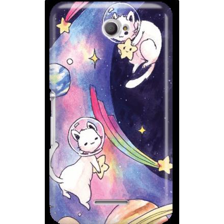 Etui na telefon Sony Xperia E4 Kosmiczne Koty