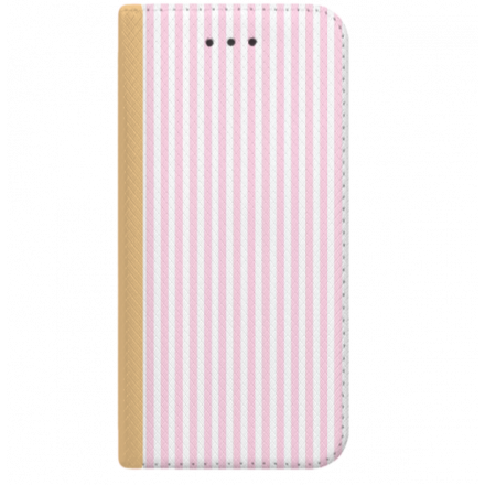 ETUI BOOK MAGNET NA TELEFON HTC 10 ZŁOTY CANDY RÓŻOWY PASKI