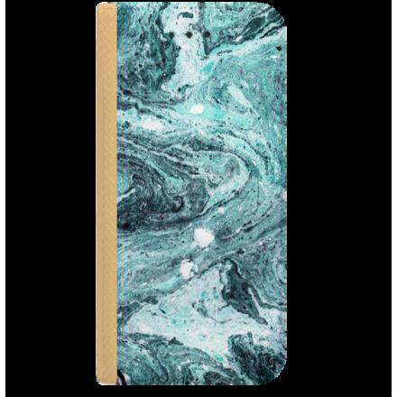 ETUI BOOK MAGNET NA TELEFON LG K8 2018 K9 ZŁOTY LAZUROWE FALE
