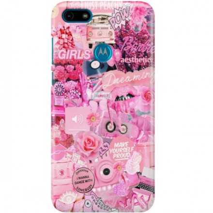 ETUI CLEAR NA TELEFON MOTOROLA MOTO E6 PLAY ALL PINK
