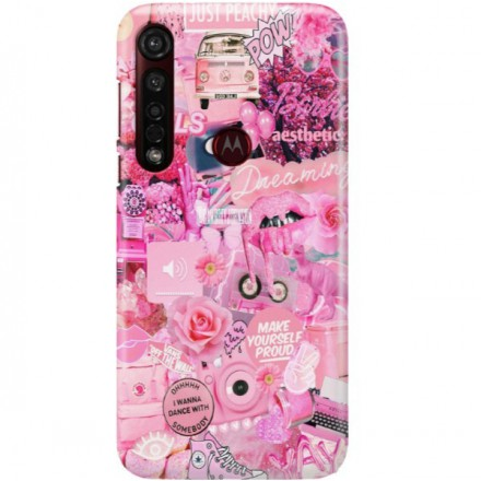 ETUI CLEAR NA TELEFON MOTOROLA MOTO G8 PLUS ALL PINK