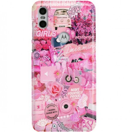ETUI CLEAR NA TELEFON MOTOROLA MOTO ONE ALL PINK