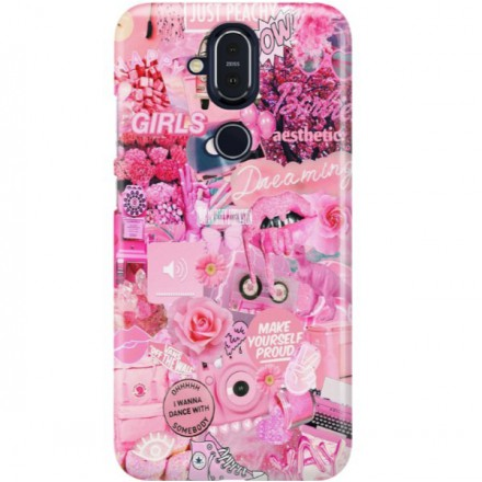ETUI CLEAR NA TELEFON NOKIA 8.1 / X7 ALL PINK