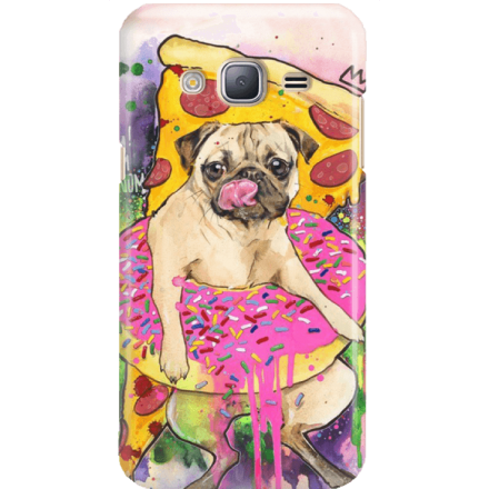 Etui na telefon Samsung Galaxy J3 2016 Głodny Mops
