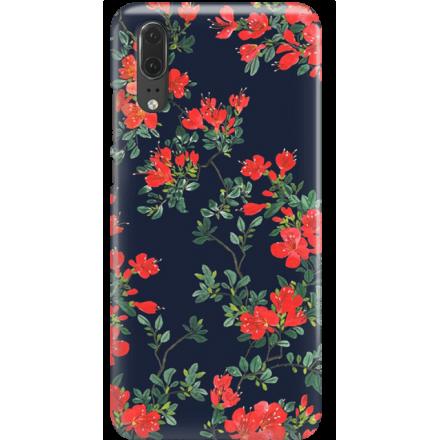Etui na telefon Huawei P20 Czerwone Kwiaty